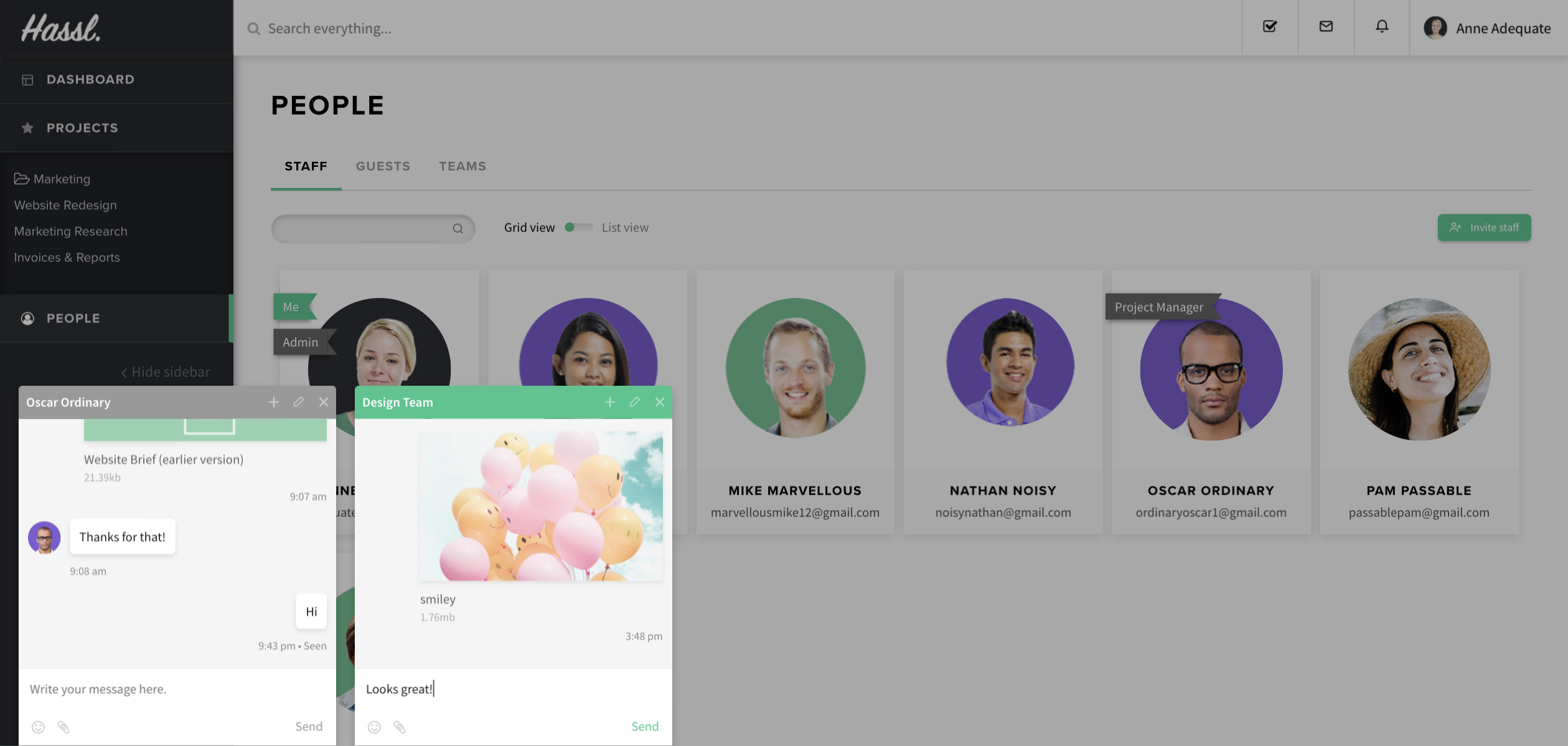 project management tool with online instant chat